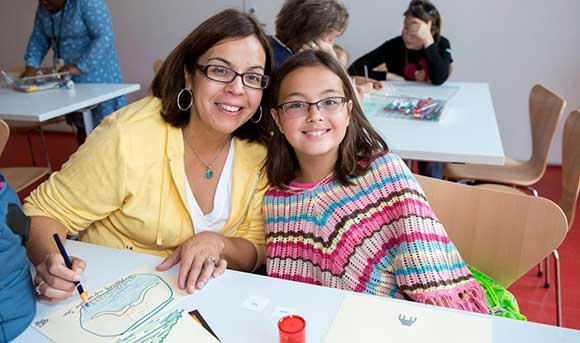 Mother and daughter in the Ryan Education Center