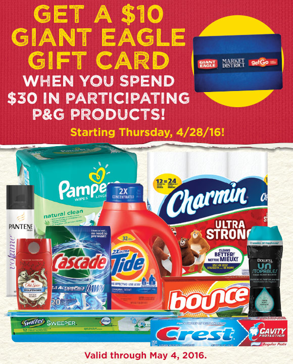 Get a $10 Giant Eagle Gift Card for Buying $30 of Select P&G Products!