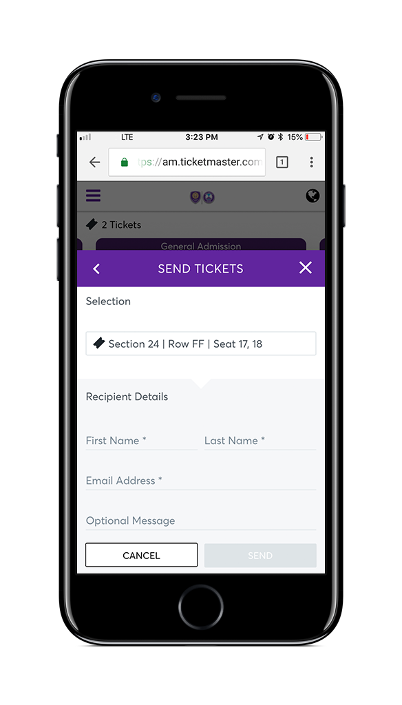 Ticket view screen