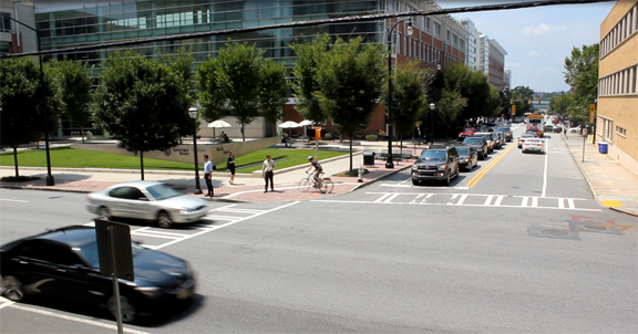 Intersection at West Peachtree Street and 5th Street.
