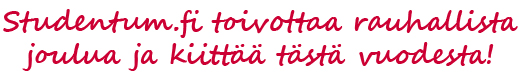 Studentum.fi toivottaa rauhallista joulua!