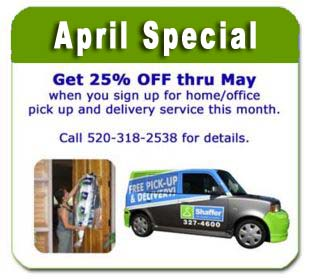 april special take 25 percent off garment dry cleaning