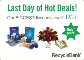 Last Day of Hot Deals at RecycleBank
