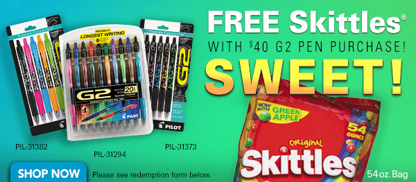 FREE Skittles with $40 G2 Pen Purchase!