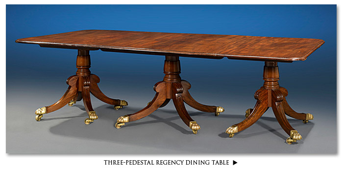 Three Pedestal Regency Dining Table