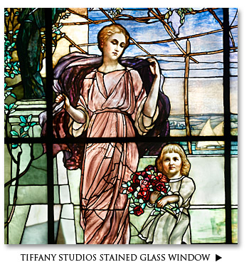 Important Tiffany Studios Figural Stained Glass Window