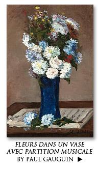 Fleurs dans un vase avec partition musicale by Paul Gauguin