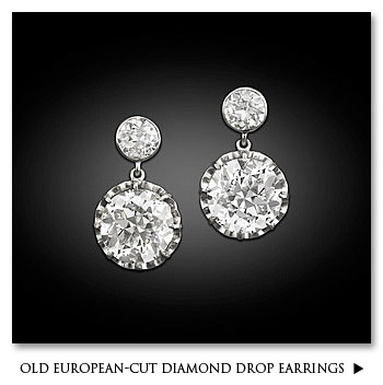 Old European-Cut Diamond Drop Earrings