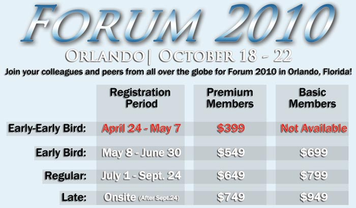 NAVUG Forum 2010 Early Early Bird Registration Begins this Saturday!