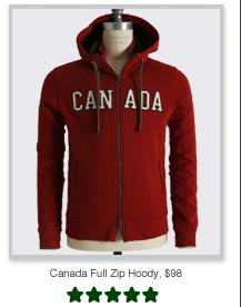 Canada Full Zip Hoody, $98