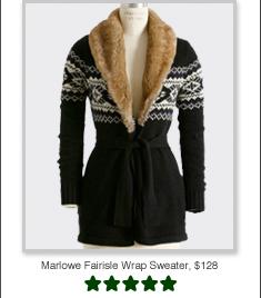 Marlowe Fairisle Wrap Sweater, $128