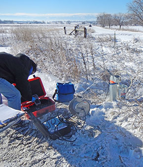 Winter groundwater sampling