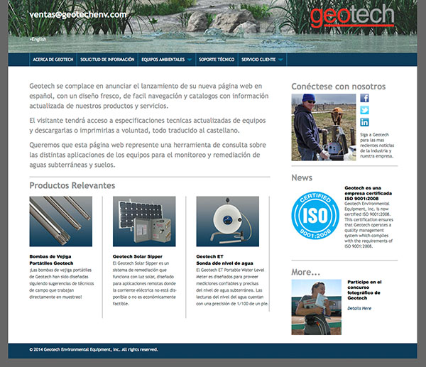 Geotech Spanish Web Site Home Page