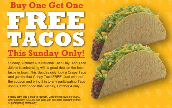 Buy one crispy taco get one free