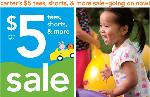 Carter's $5 tees, shorts, & more sale going on now. Don't miss the last days of our final clearance. Stop in and visit us today. Babies and kids sizes newborn to 7.