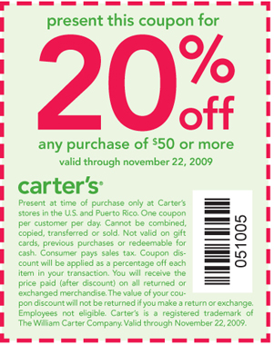 20% off any purchase of $50 or more. Coupon valid through November 22, 2009. promo code 051005