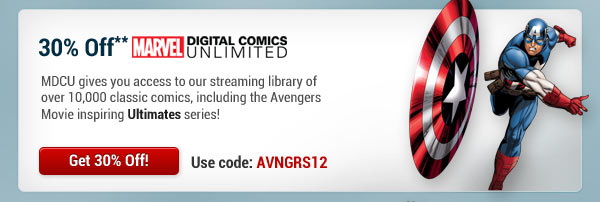 30% Off Marvel Digital Comics Unlimited