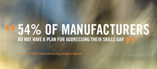 54% OF MANUFACTURERS DO NOT HAVE A PLAN FOR ADDRESSING THEIR SKILLS GAP.