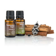 Frankincense Organic, Essential Shield, Aromatherapy Bottle Heart Necklace