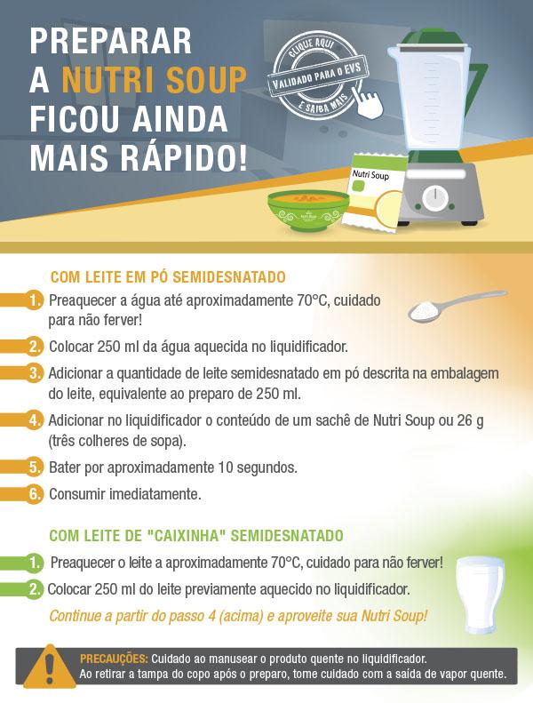 COMUNICADO PARA DILVULGAR O MODO DE PREPARO DA NUTRI SOUP NO LIQUIDIFICADOR